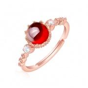 Garnet Engagement Rings Sterling Silver Adjustable Rings