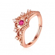 Princess Crown Engagement Rings with Pink Natural Gemstone