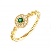 Nature Emerald Round Stone Engagement Rings in Sterling Silver