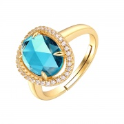 Topaz Natural Stone Sterling Silver Vintage Wedding Rings