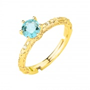 Natural Blue Topaz Engagement Ring Classic Six Claws