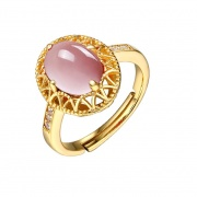 Crystal Pink Natural Stone Rings Adjustable Sterling Silver