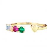 Vintage Colored Gemstones Promise Rings Adjustable in 925 Sterling Silver