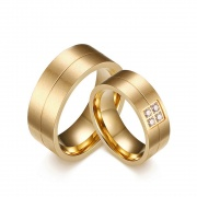 Stainless/Titanium Steel Commitment Rings Flat Style for Couples