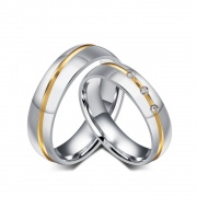 Silver Couples Promise Rings Sets Stainless&Titanium Steel Rings