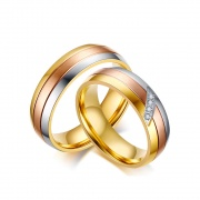 Tri-color Cheap Couple Rings Set in Stainless Steel/Titanium Steel