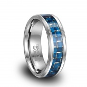 Blue Carbon Fiber Tungsten Engagement Rings Comfort Fit
