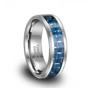 Blue Carbon Fiber Tungsten Engagement Rings Comfort Fit