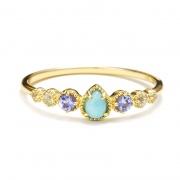 Teardrop Shaped Natural Blue Gemstones Rings Sterling Silver