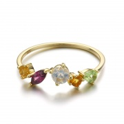 925 Sterling Silver Natural Colored Gemstone Ring