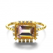 Ametrine Ring with Cubic Zirconia Vintage Engagement Rings