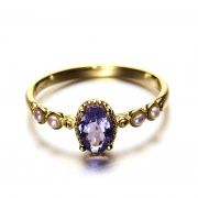 Tanzanite Engagement Rings with Natural Pearl in Sterling Silver
