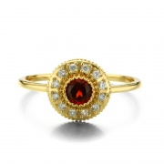 Garnet Promise Rings Yellow Gold Color in Sterling Silver