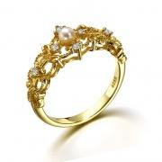 Vintage Natural Pearl Wedding Rings Princess Crown Rings