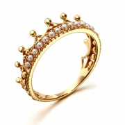 Sterling Silver Princess Crown Rings with Natural Pearl