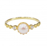 Natural Freshwater Pearl Wedding Rings Sterling Silver