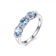Natural Blue Topaz Wedding Rings in Sterling Silver