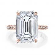 Rose Gold 6 Carat Emerald Cut Sona Diamond 925 Sterling Silver