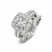1 Carat Round Cut Sona Diamond Sterling Silver Wedding Sets