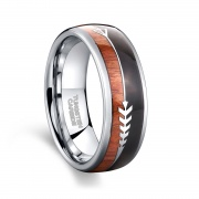 Unique Tungsten Carbide Wedding Bands Wood Arrow Inlay
