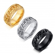 Stainless Steel Spinner Rings Gold/Silver/Black 8mm