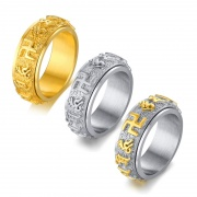 Scripture Rings Rotatable in Stainless Steel with Totem Pattern