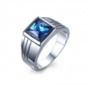 Silver and Blue High Polished Stainless Steel Wedding Bands
