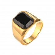 Classic Gold Stainless Steel Rings with Black Agate