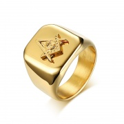Gold Masonic Rings High Polished in Stainless Steel