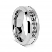 Silver Tungsten Rings with Cubic Zirconia Inlaid