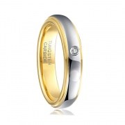 Gold and Silver Tungsten Wedding Bands for her with CZ
