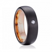 Black and Rose Gold Tungsten Wedding Bands for Men with CZ