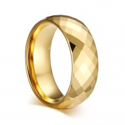 Gold Tungsten Wedding Bands Faceted Domed