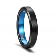 Brushed Tungsten Rings Blue & Black with Beveled Edge