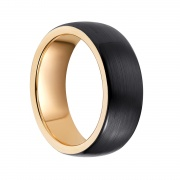 Rose Gold and Black Tungsten Flat Engagement Rings