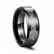 Celtic Dragon Wedding Rings with Green Carbon Fiber Glow in the Dark