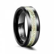 Black Tungsten Rings with Lord of Ring Inlaid Luminous Ring