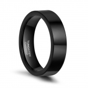Mens Black Tungsten Wedding Bands Simple Flat Style