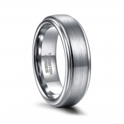 Simple Wedding Rings with Silver Brushed Center