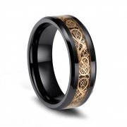 Celtic Dragon Rings Black Tungsten Vintage Style Engagement Rings