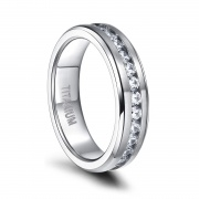 Silver Titanium Rings for Women Men with CZ 6mm