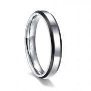 Silver and Black Stainless Steel Engagement Rings