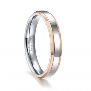 Stainless Steel Promise Rings with Rose Gold Beveled Edge for her & him