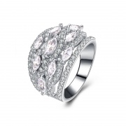 Marquise Cut Simulated Diamond Sterling Silver Wedding Rings