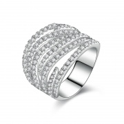 Micro Pave Cubic Zirconia Ring in Sterling Silver