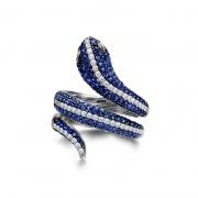 Women 925 Sterling Silver Blue Cz Rings Snake Rings