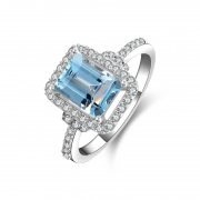 Emerald Cut Blue Topaz Ring Engagement Rings Sterling Silver