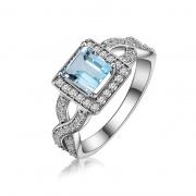 Natural Blue Topaz Sterling Silver Ring Princess Cut