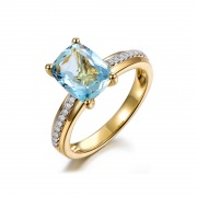 Blue Topaz Wedding Rings Sterling Silver Gold Color