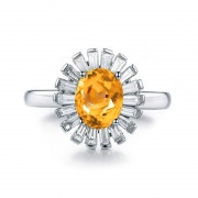Natural Citrine Stone Rings Sunflower Sterling Silver Rings